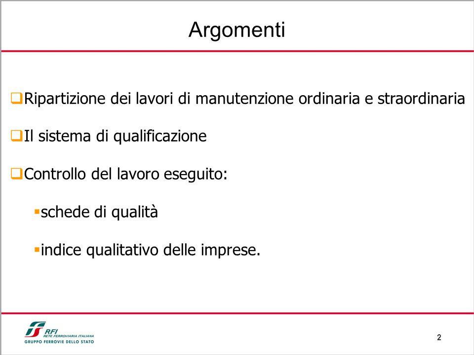 Argomenti Ripartizione dei lavori di manutenzione ordinaria e straordinaria. Il sistema di qualificazione.