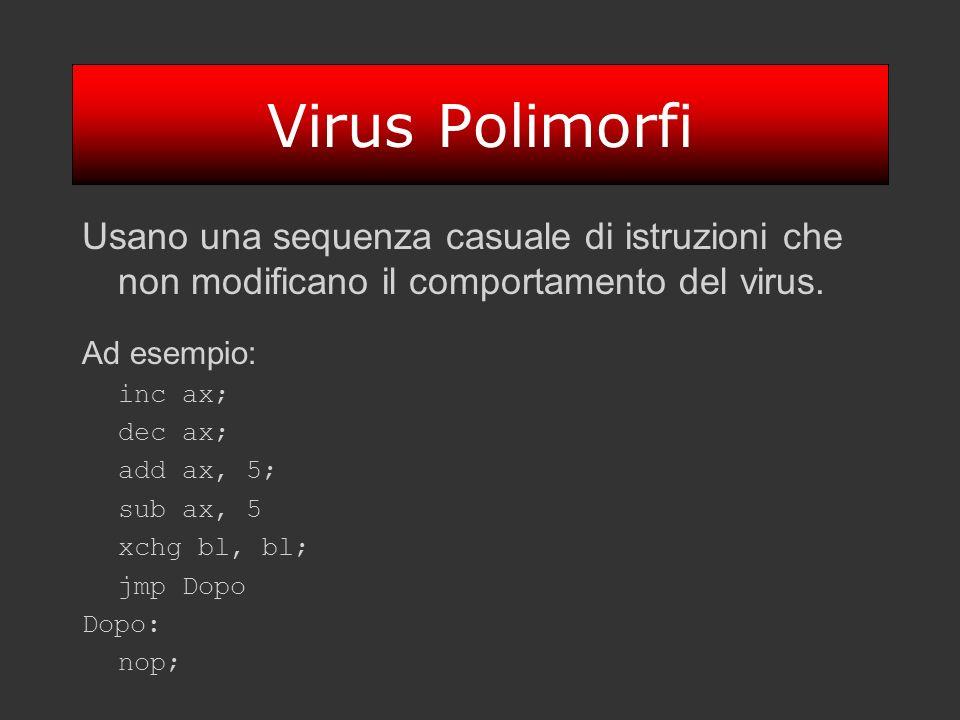 Virus Polimorfi Usano una sequenza casuale di istruzioni che non modificano il comportamento del virus.