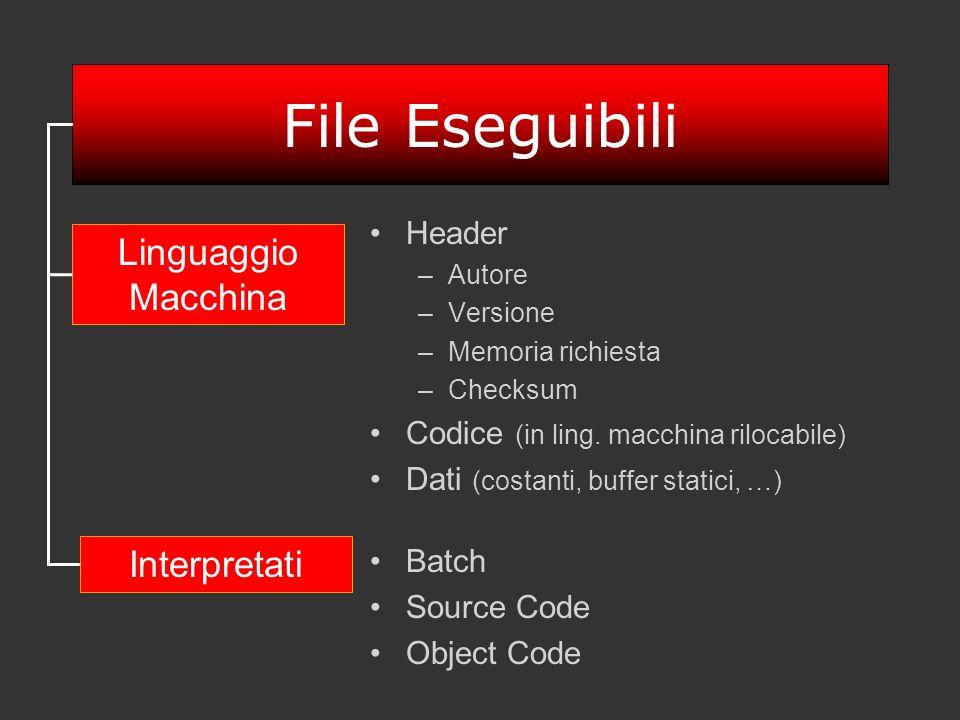 File Eseguibili Linguaggio Macchina Interpretati Header