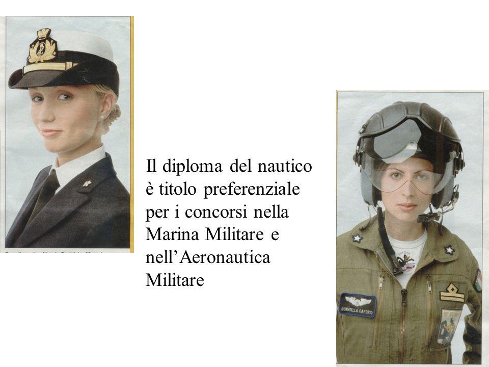 Il diploma del nautico è titolo preferenziale per i concorsi nella Marina Militare e nell'Aeronautica Militare