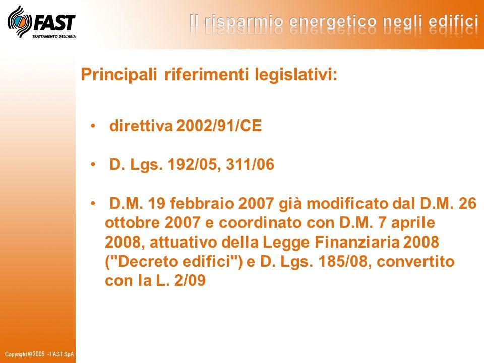 Principali riferimenti legislativi:
