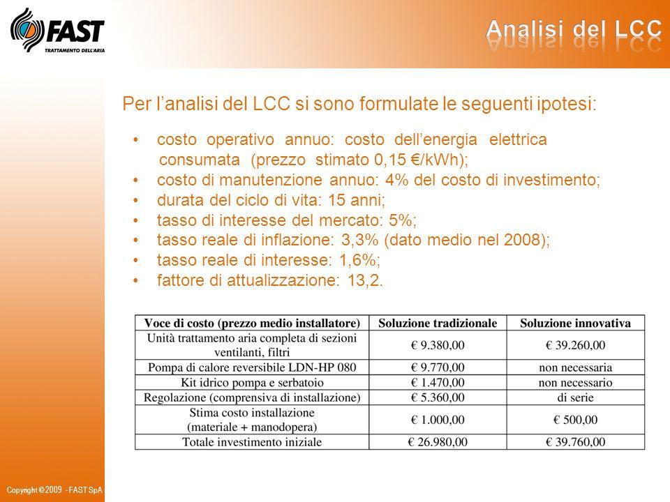 Analisi del LCC Per l'analisi del LCC si sono formulate le seguenti ipotesi: