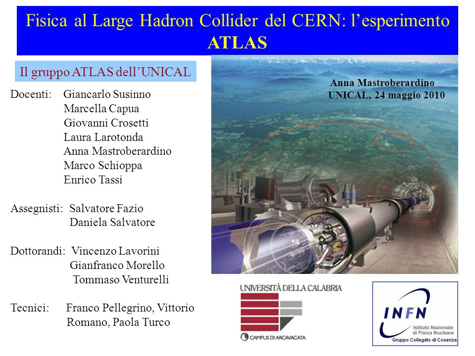Fisica al Large Hadron Collider del CERN: l'esperimento ATLAS