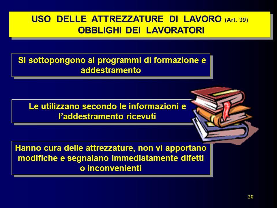USO DELLE ATTREZZATURE DI LAVORO (Art. 39) OBBLIGHI DEI LAVORATORI