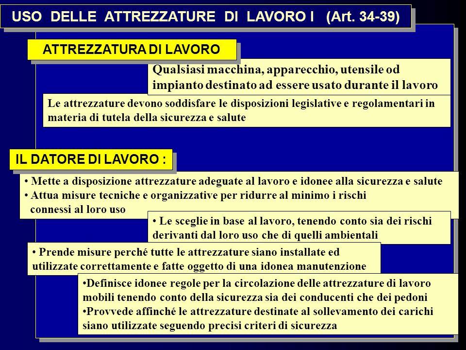 USO DELLE ATTREZZATURE DI LAVORO I (Art. 34-39) ATTREZZATURA DI LAVORO