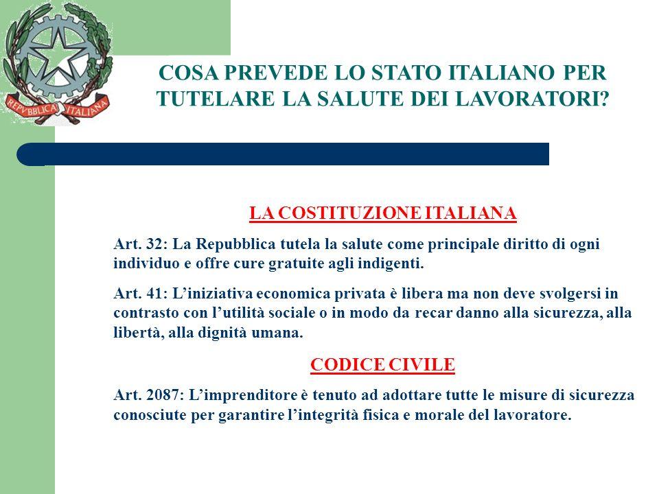COSA PREVEDE LO STATO ITALIANO PER TUTELARE LA SALUTE DEI LAVORATORI