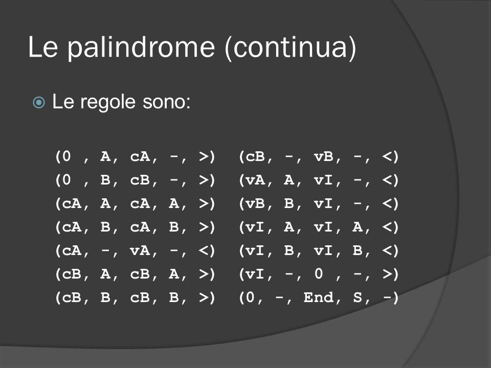 Le palindrome (continua)