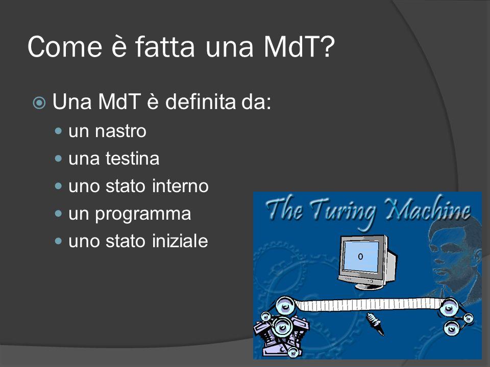 Come è fatta una MdT Una MdT è definita da: un nastro una testina