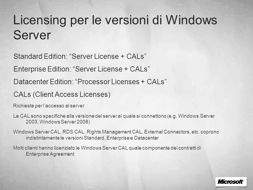 Licensing per le versioni di Windows Server