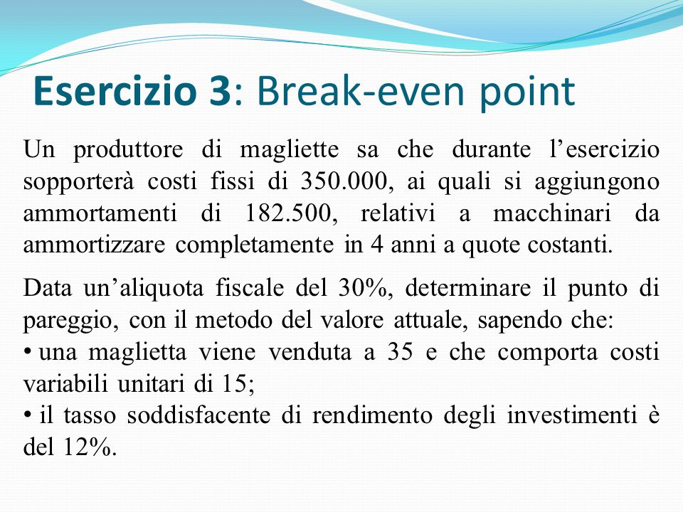 Esercizio 3: Break-even point