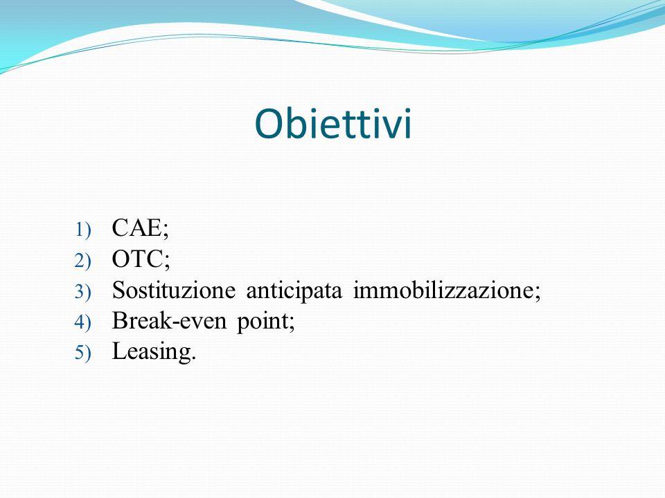 Obiettivi CAE; OTC; Sostituzione anticipata immobilizzazione;