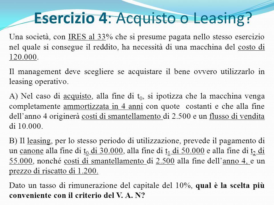 Esercizio 4: Acquisto o Leasing