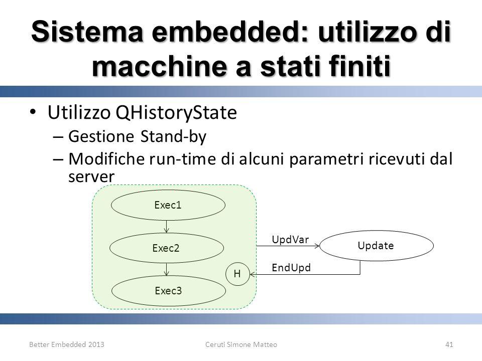 Sistema embedded: utilizzo di macchine a stati finiti