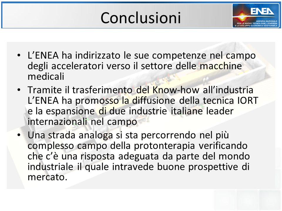 Conclusioni L'ENEA ha indirizzato le sue competenze nel campo degli acceleratori verso il settore delle macchine medicali.