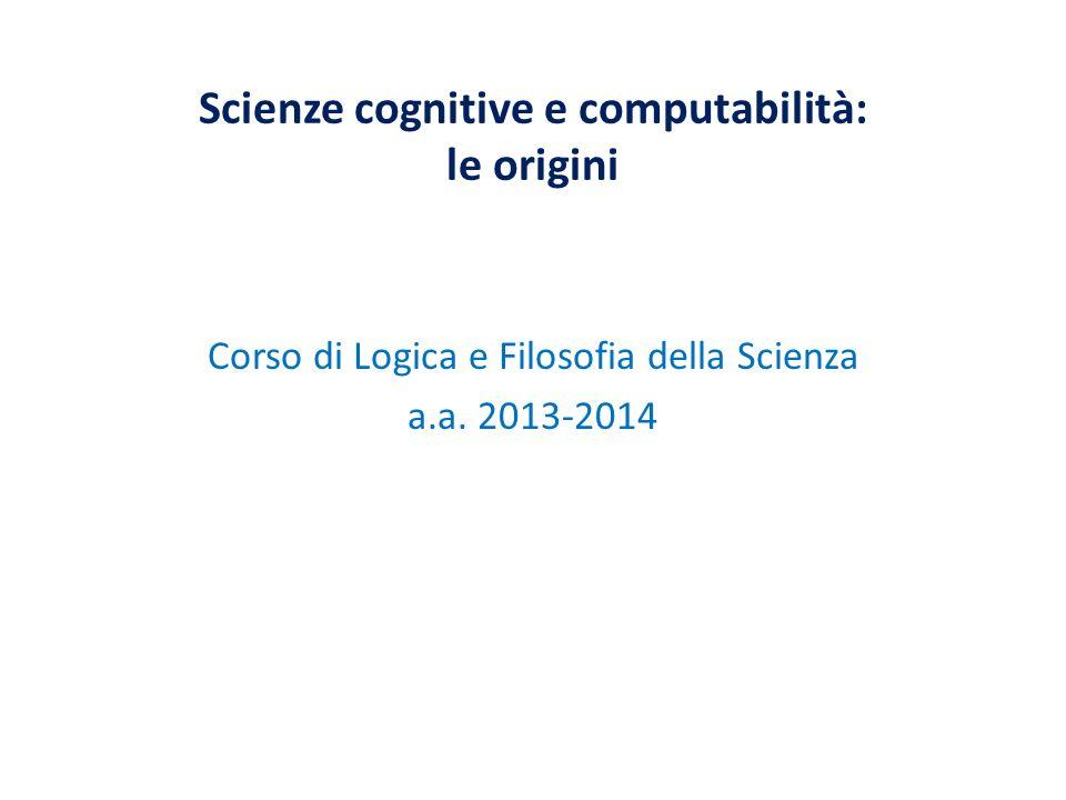 Scienze cognitive e computabilità: le origini