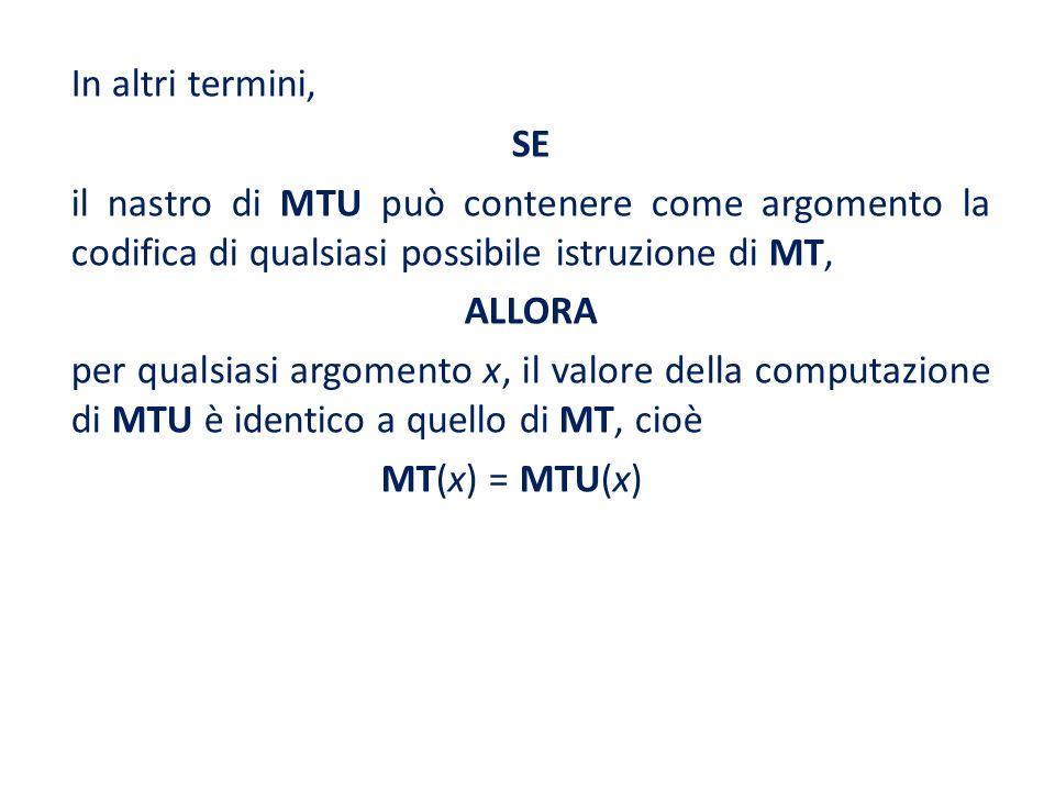 In altri termini, SE. il nastro di MTU può contenere come argomento la codifica di qualsiasi possibile istruzione di MT,