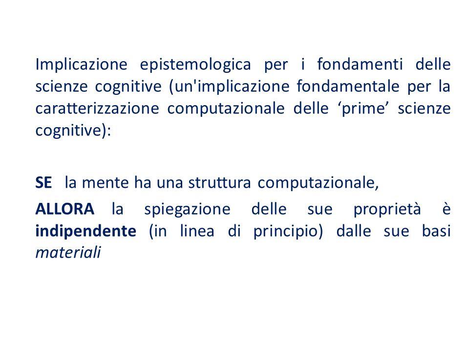 Implicazione epistemologica per i fondamenti delle scienze cognitive (un implicazione fondamentale per la caratterizzazione computazionale delle 'prime' scienze cognitive):