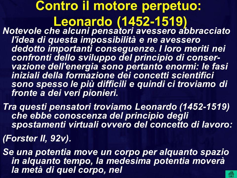 Contro il motore perpetuo: Leonardo (1452-1519)