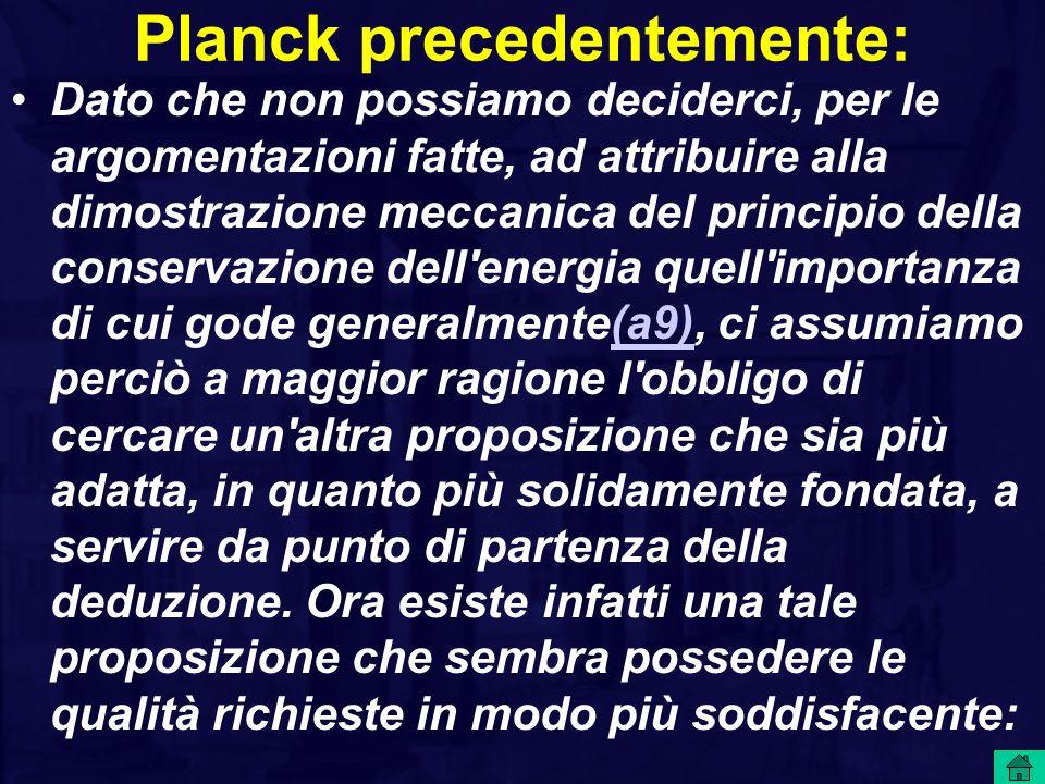 Planck precedentemente: