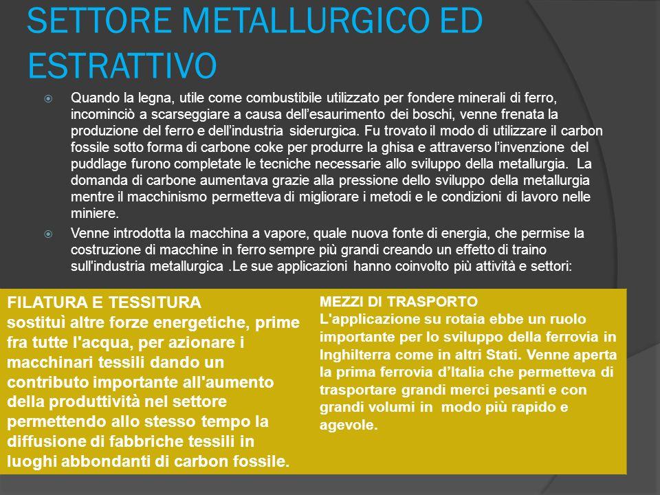 SETTORE METALLURGICO ED ESTRATTIVO