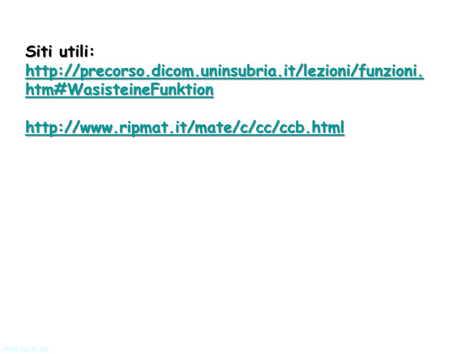 Siti utili: http://precorso.dicom.uninsubria.it/lezioni/funzioni.htm#WasisteineFunktion. http://www.ripmat.it/mate/c/cc/ccb.html.