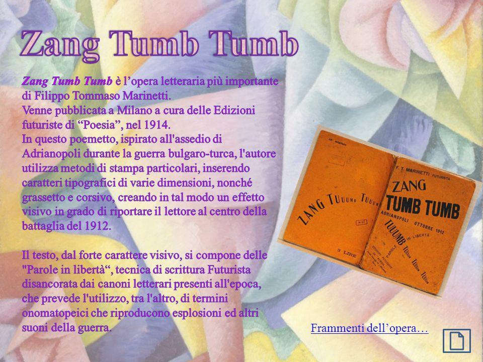 Zang Tumb Tumb Zang Tumb Tumb è l'opera letteraria più importante di Filippo Tommaso Marinetti.