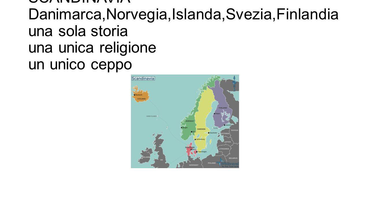 SCANDINAVIA Danimarca,Norvegia,Islanda,Svezia,Finlandia una sola storia una unica religione un unico ceppo
