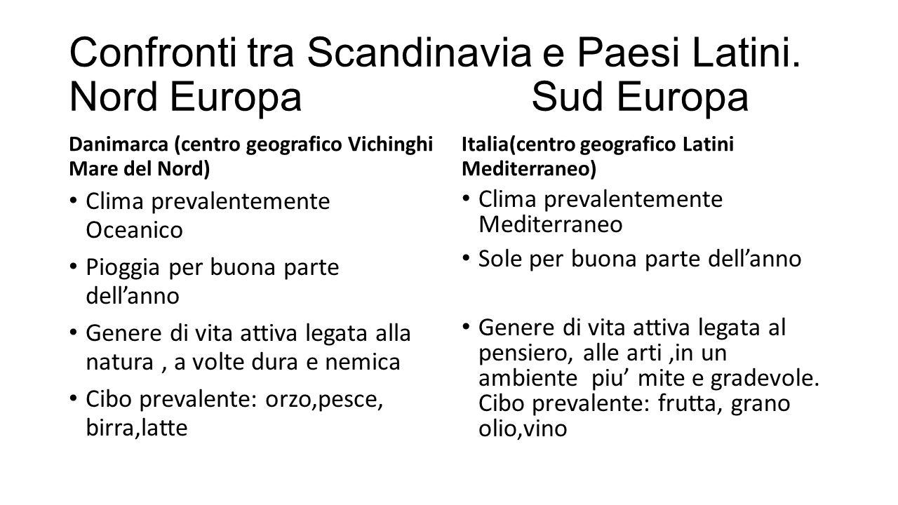 Confronti tra Scandinavia e Paesi Latini. Nord Europa Sud Europa