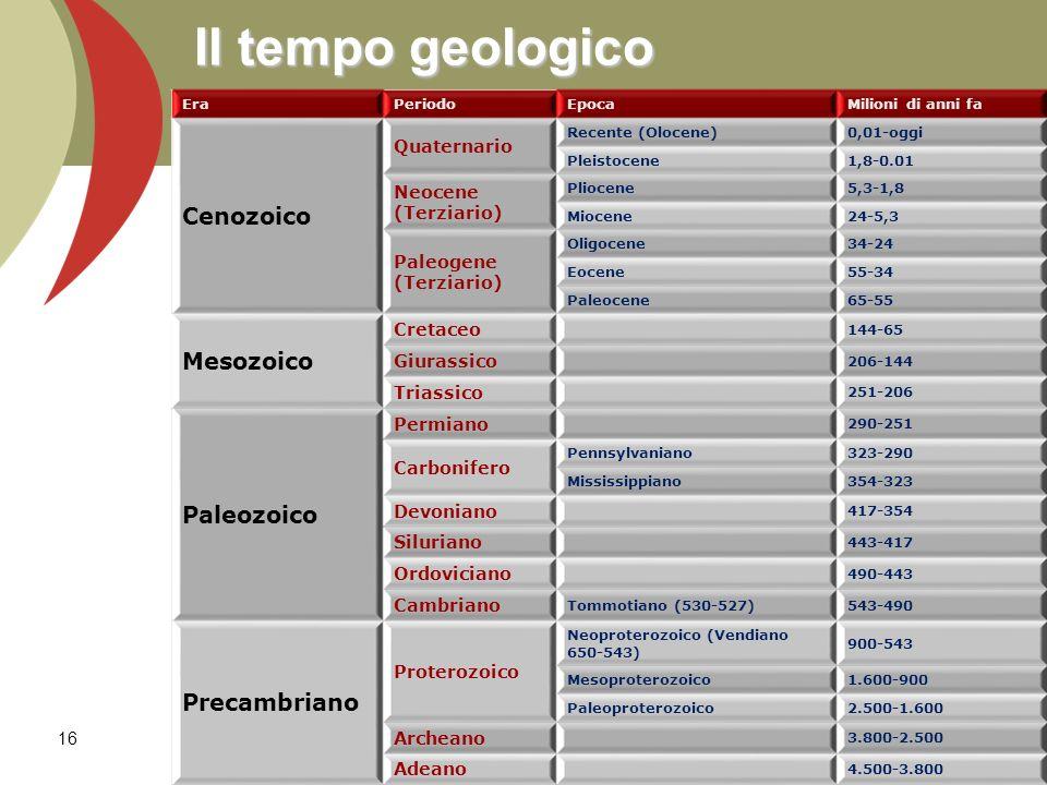 Il tempo geologico Cenozoico Mesozoico Paleozoico Precambriano