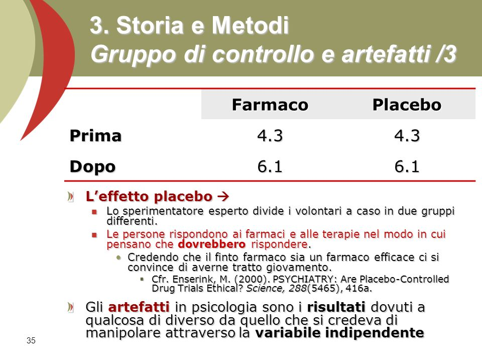 3. Storia e Metodi Gruppo di controllo e artefatti /3