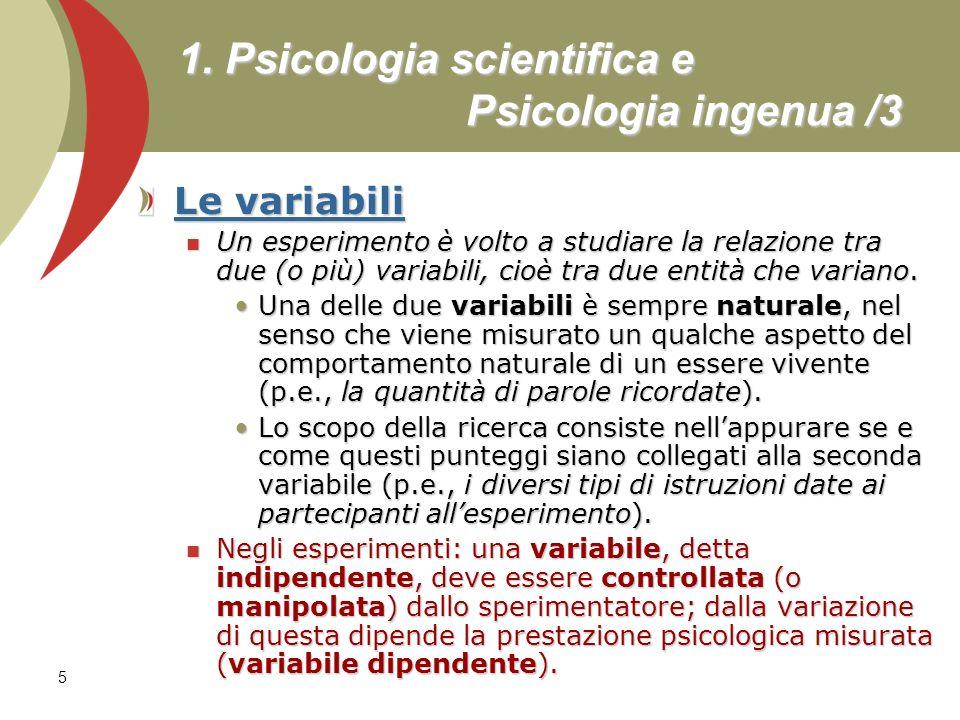 1. Psicologia scientifica e Psicologia ingenua /3