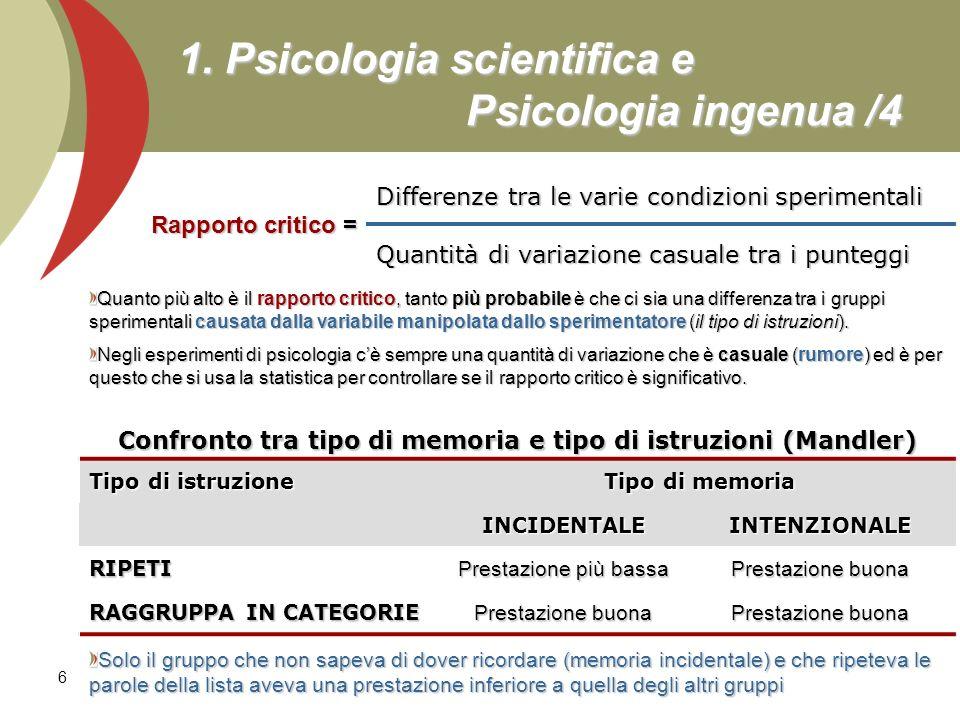 1. Psicologia scientifica e Psicologia ingenua /4