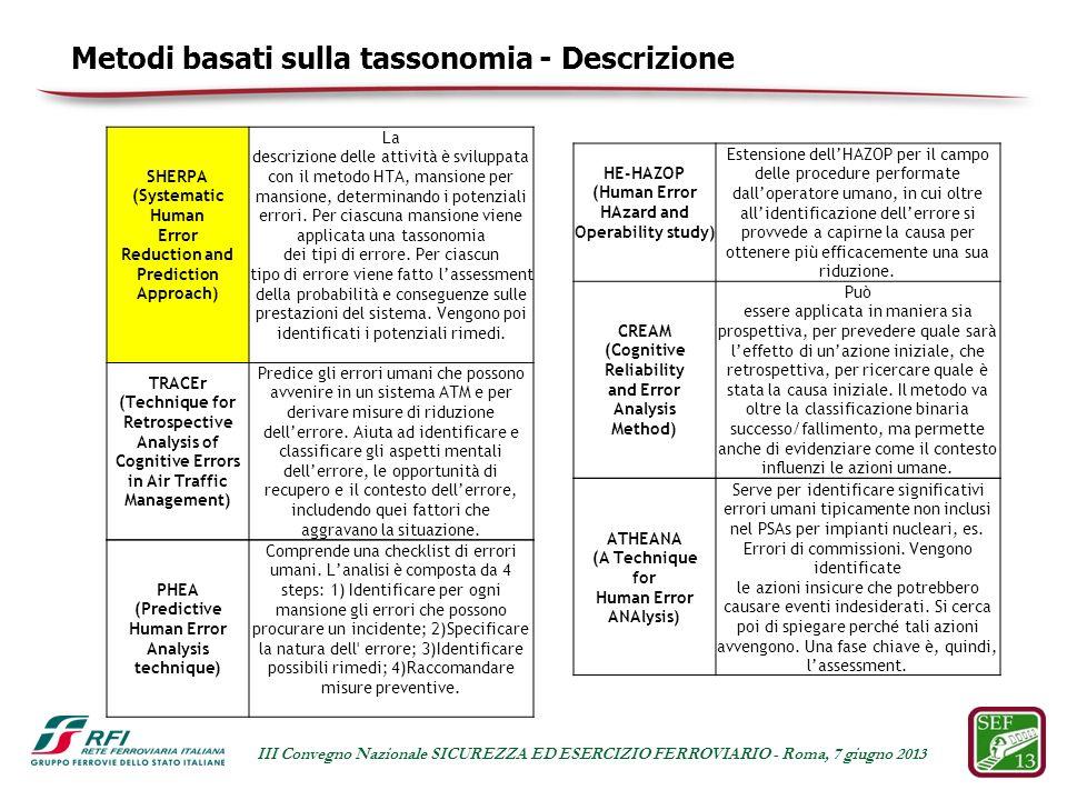 Metodi basati sulla tassonomia - Descrizione