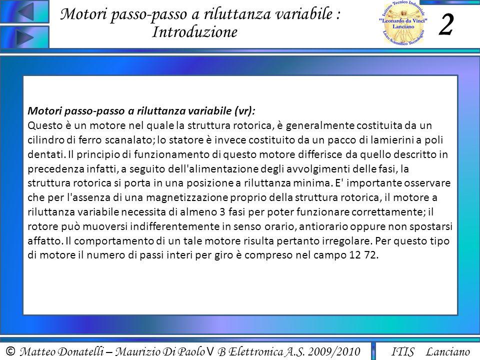 Motori passo-passo a riluttanza variabile : Introduzione