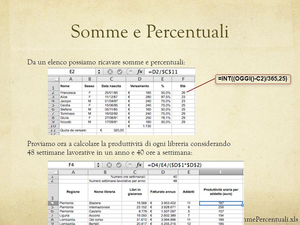Somme e Percentuali Da un elenco possiamo ricavare somme e percentuali: =INT((OGGI()-C2)/365,25)