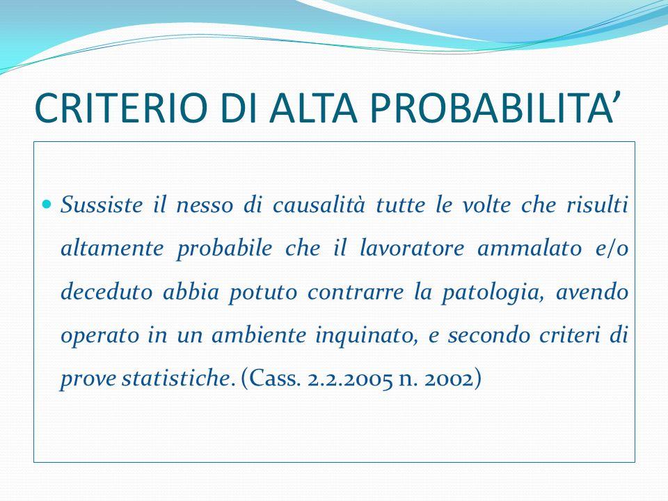CRITERIO DI ALTA PROBABILITA'
