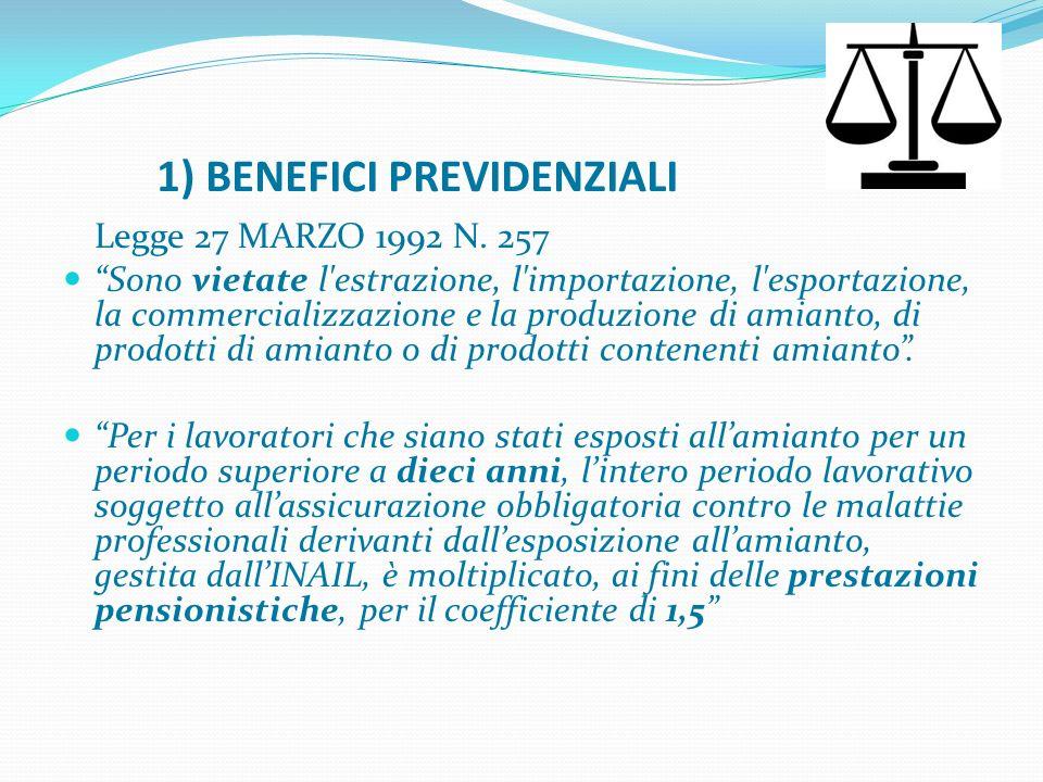 1) BENEFICI PREVIDENZIALI