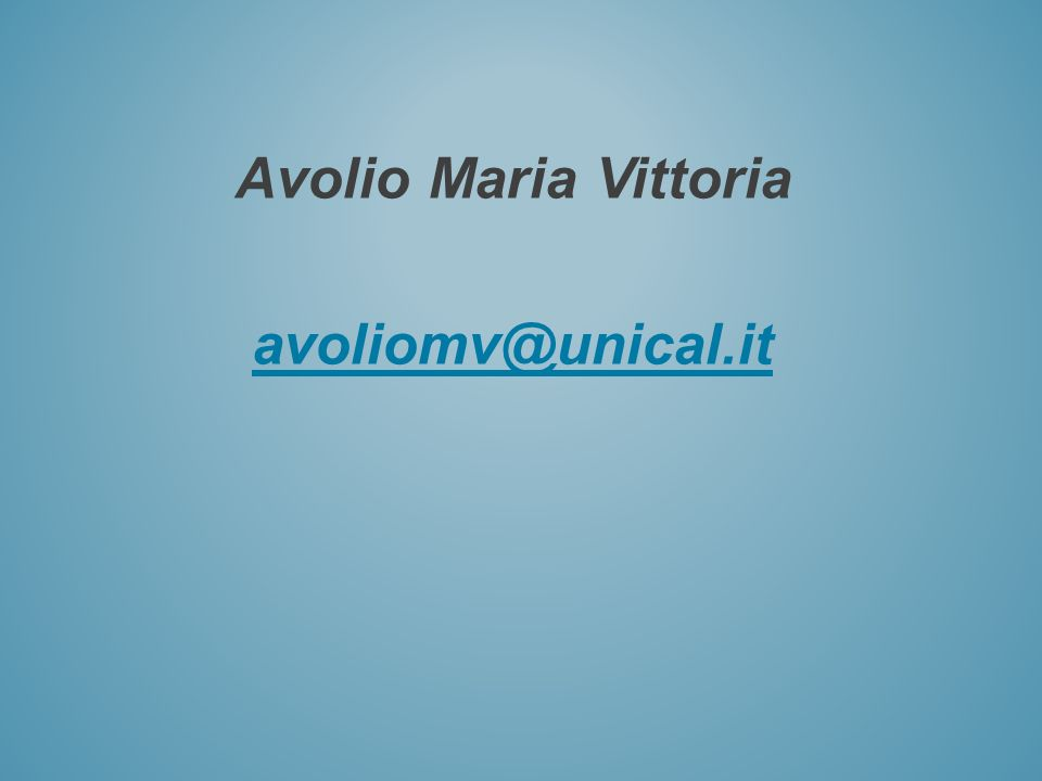 Avolio Maria Vittoria avoliomv@unical.it