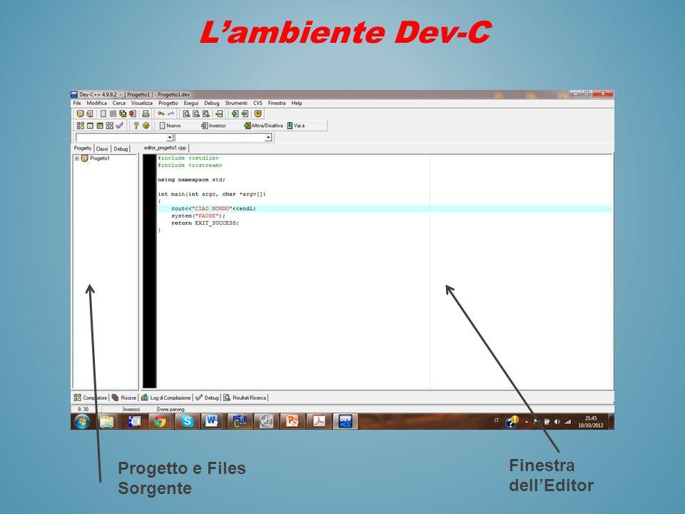 L'ambiente Dev-C Progetto e Files Sorgente Finestra dell'Editor