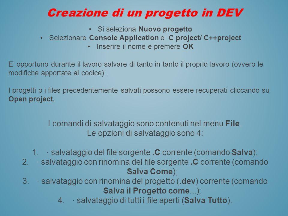 Creazione di un progetto in DEV