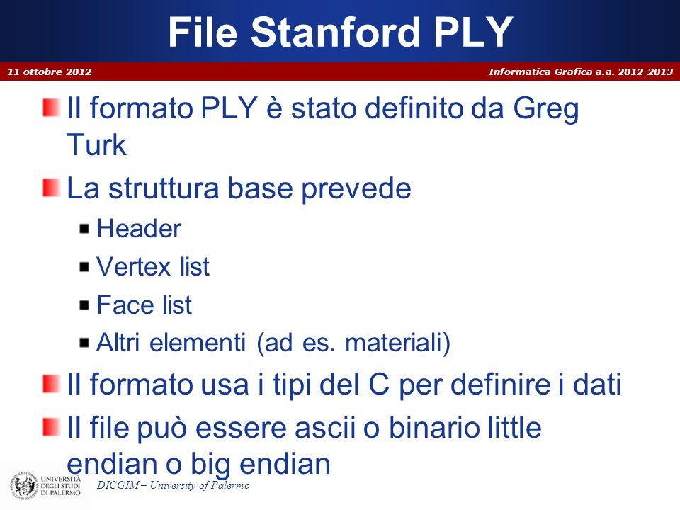File Stanford PLY Il formato PLY è stato definito da Greg Turk