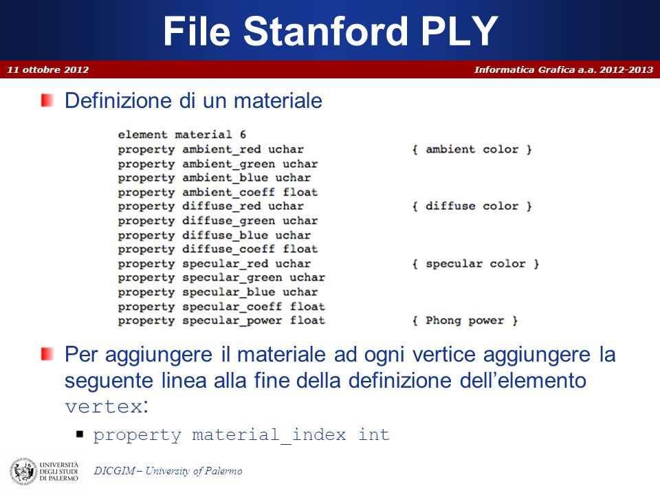 File Stanford PLY Definizione di un materiale
