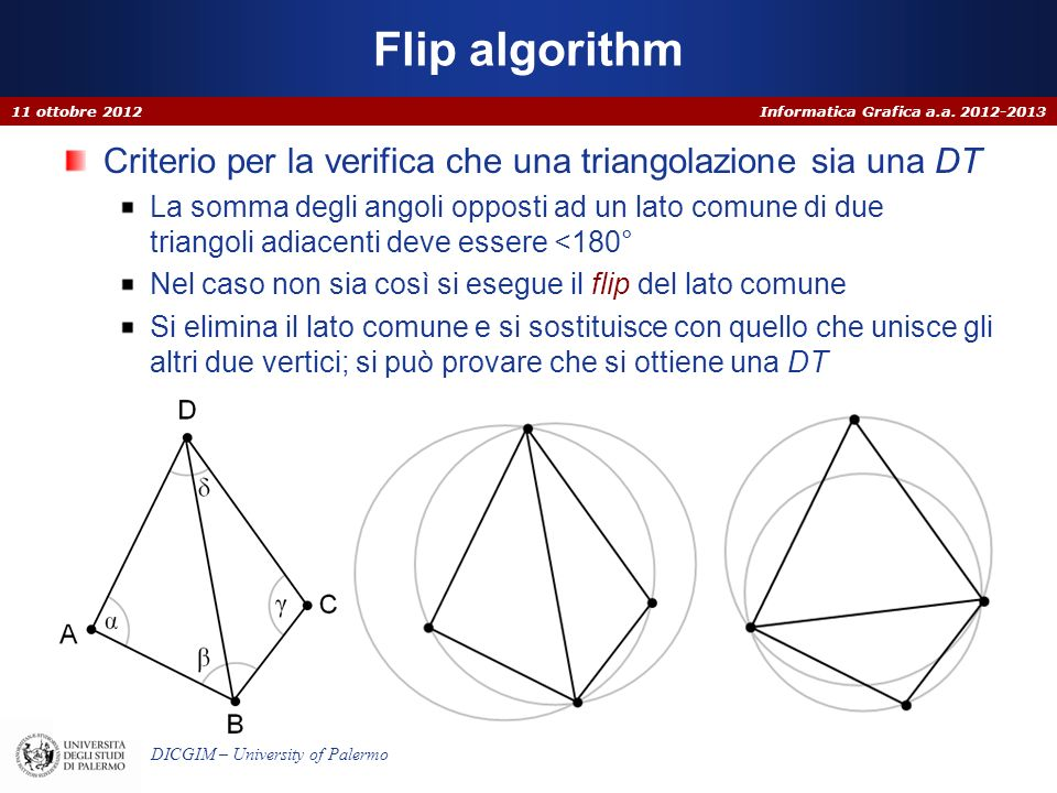 Flip algorithm 11 ottobre 2012. Criterio per la verifica che una triangolazione sia una DT.