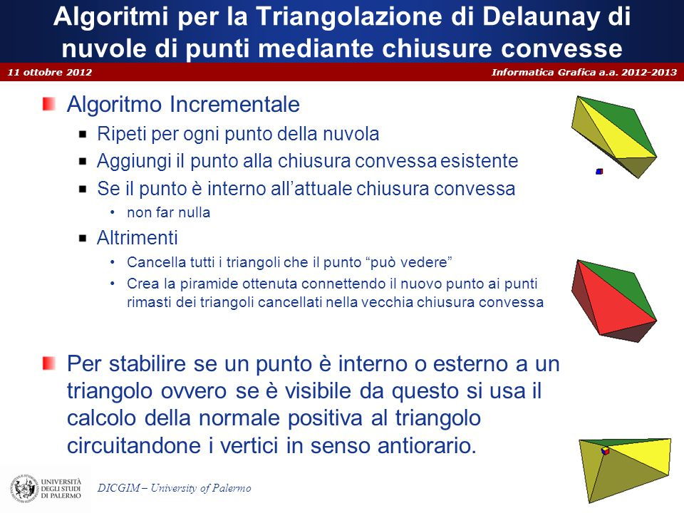 Algoritmi per la Triangolazione di Delaunay di nuvole di punti mediante chiusure convesse