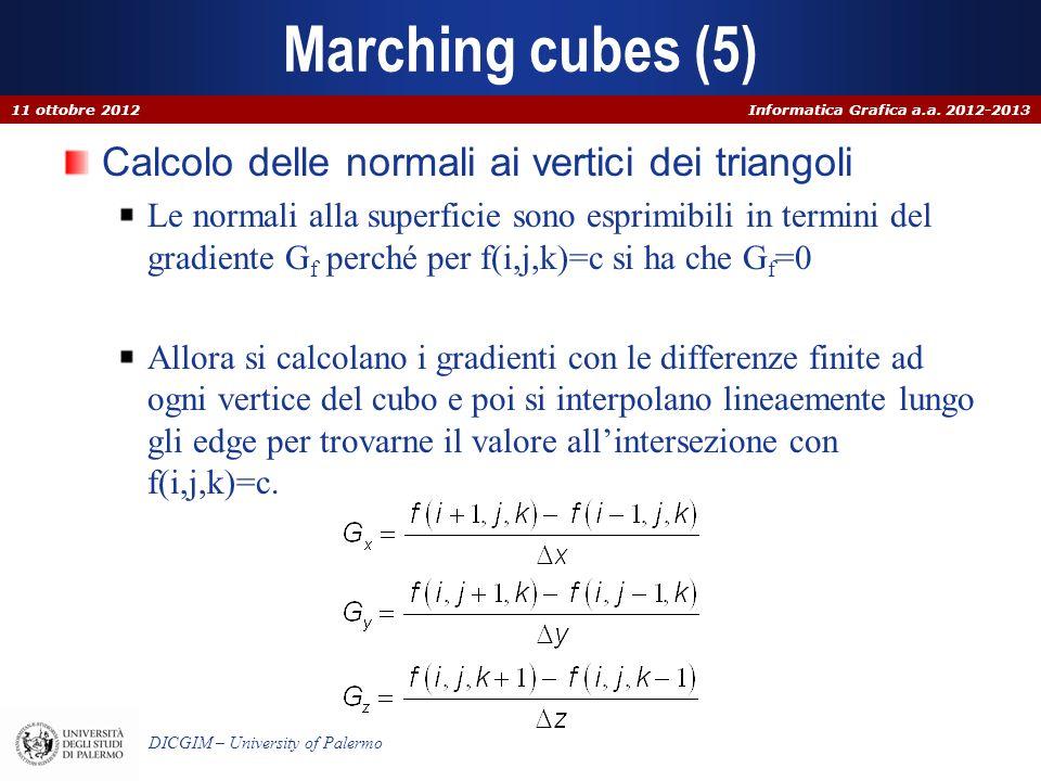Marching cubes (5) Calcolo delle normali ai vertici dei triangoli