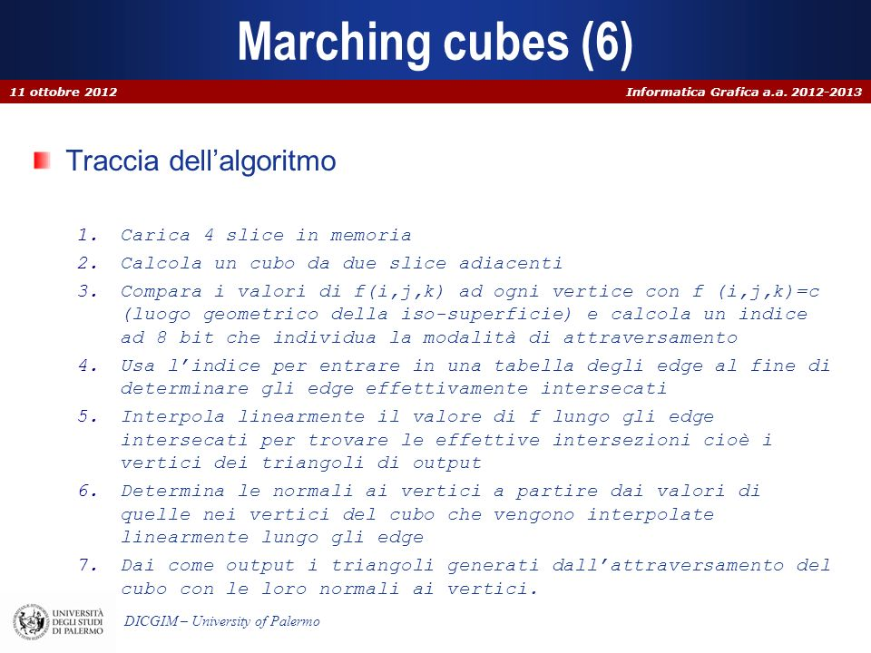 Marching cubes (6) Traccia dell'algoritmo Carica 4 slice in memoria