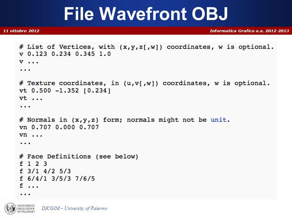 File Wavefront OBJ 11 ottobre 2012