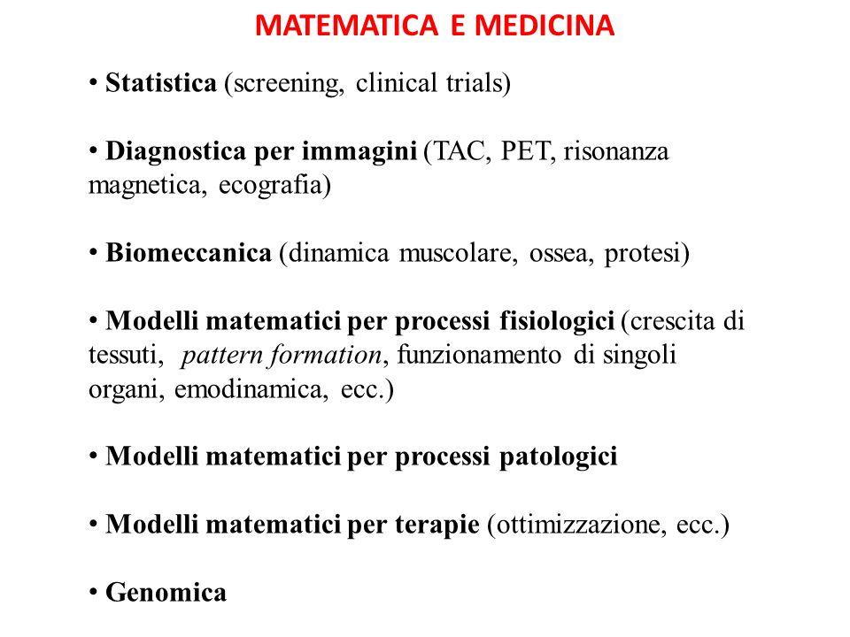 MATEMATICA E MEDICINA Statistica (screening, clinical trials)