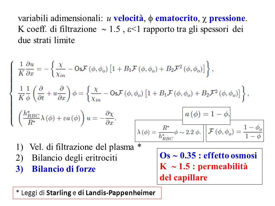 variabili adimensionali: u velocità,  ematocrito,  pressione.