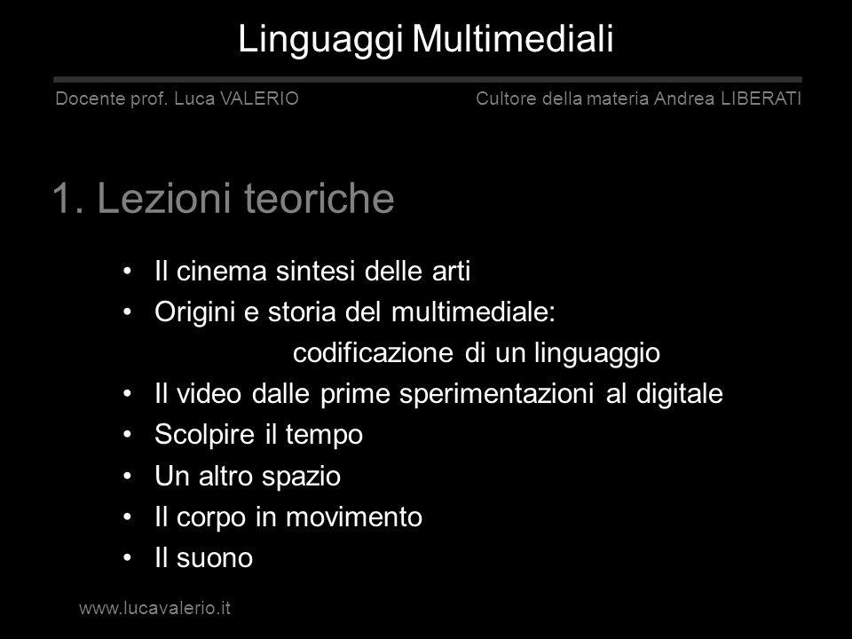 1. Lezioni teoriche Linguaggi Multimediali